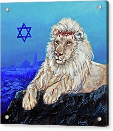 Lion Of Judah - Jerusalem Acrylic Print by Bob and Nadine Johnston