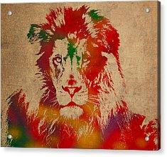 Lion Watercolor Portrait On Old Canvas Acrylic Print