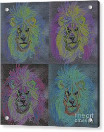 Lion X 4 Color  By Jrr Acrylic Print by First Star Art