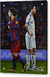 Lionel Messi And Cristiano Ronaldo Acrylic Print by Paul Meijering