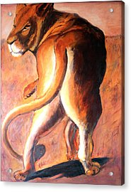 Acrylic Print featuring the painting Lioness by Rosemarie Hakim