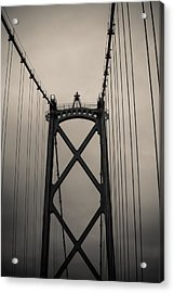 Lions Gate Bridge Abstract Black And White Acrylic Print