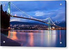 Lions Gate Bridge Just After Sunset Acrylic Print by James Wheeler