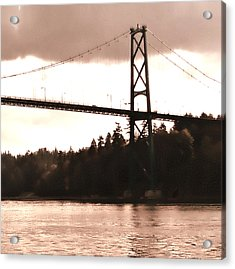 Lion's Gate Bridge Rose Right Acrylic Print by Patricia Keith