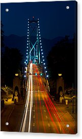 Lions Gate Bridge Traffic Acrylic Print by Michael Russell