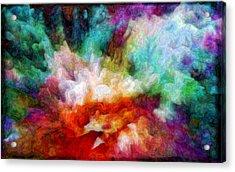 Acrylic Print featuring the digital art Liquid Colors - Enamel Edition by Lilia D