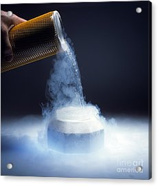 Liquid Nitrogen Being Poured Acrylic Print by Charles D Winters