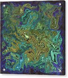 Liquify Dark Blue Acrylic Print by Josephine Cohn