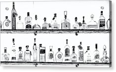 Liquor Bottles - Black And White Acrylic Print