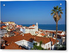 Lisbon Alfama Panoramic View Toward The River Acrylic Print by Kiril Stanchev