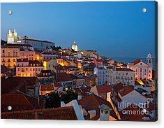 Lisbon City Lights Panoramic Alfama View Acrylic Print by Kiril Stanchev
