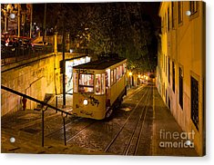 Lisbon Gloria Funicular Night Shot Acrylic Print by Kiril Stanchev