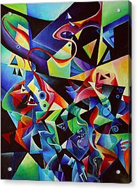 listening to piano concert op.42 of Arnold Schoenberg Acrylic Print by Wolfgang Schweizer