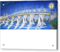 Lit Bridge Acrylic Print