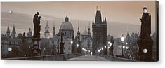 Lit Up Bridge At Dusk, Charles Bridge Acrylic Print