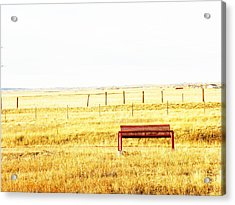 Little Bench On The Prairie Acrylic Print by Lenore Senior