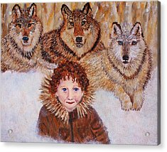 Little Bernard And The Wolves Acrylic Print by The Art With A Heart By Charlotte Phillips