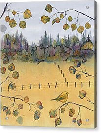 Little Bird And Fence Acrylic Print