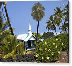 Little Blue Church Kona Acrylic Print