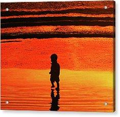 Little Boy At The Beach Acrylic Print