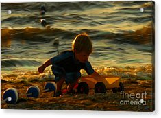Little Boy On The Beach Acrylic Print by Jeff Breiman