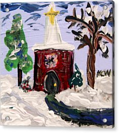 Acrylic Print featuring the painting Little Chapel In The Snow by Mary Carol Williams
