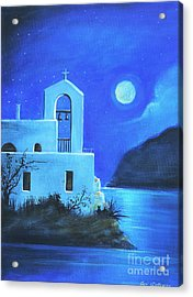Acrylic Print featuring the painting Little Church By The Sea by S G