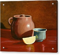 Little Clay Pots And Lemon Acrylic Print by Daniel Kansky