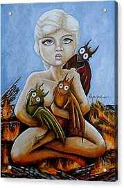 Little Daenerys And Her Baby Dragons Acrylic Print by Al  Molina