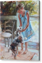 Little Girl And Dog Acrylic Print