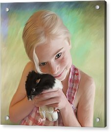 Little Girl And Pet Rat Acrylic Print by Angela A Stanton