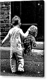Little Girl And Teddy Bear Acrylic Print by Jon Van Gilder