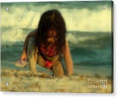 Acrylic Print featuring the photograph Little Girl At The Beach by Lydia Holly
