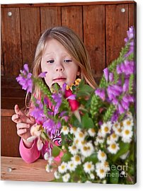 Little Girl Flower Arranging Acrylic Print by Valerie Garner