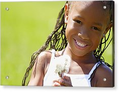 Little Girl Holding Weeds Acrylic Print by Hanson Ng