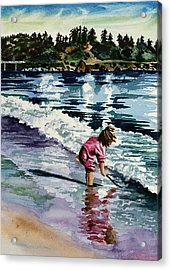 Little Girl In Pink Acrylic Print by Maureen Dean