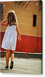 Little Girl In White Dress Acrylic Print by Mary Machare