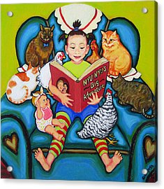 Little Girl Reading To Doll Cats Chickens Acrylic Print by Rebecca Korpita