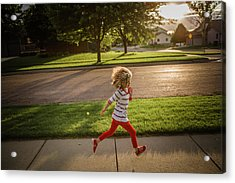 Little Girl Running Acrylic Print by Annie Otzen