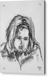 Little Girl With Hairband Acrylic Print by Barbara Pommerenke