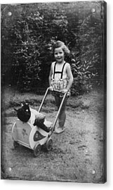 Little Girl With Her Teddy Acrylic Print