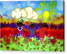 Little Girlfriends Acrylic Print by Angela L Walker