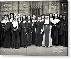 Young Girls Modeling Nun Habits Acrylic Print