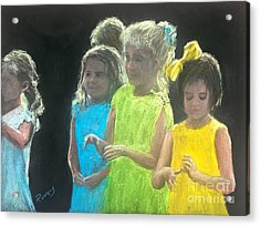 Little Girls Acrylic Print by Mary Lynne Powers