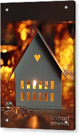 Acrylic Print featuring the photograph Little Gray House Lit With Candle For The Holidays by Sandra Cunningham