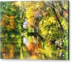 Little House By The Stream In Autumn Acrylic Print by Susan Savad