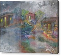 Acrylic Print featuring the painting Little Houses On A Rainy Night  by Nereida Rodriguez