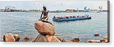 Little Mermaid Statue With Tourboat Acrylic Print by Panoramic Images