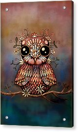 Little Rainbow Flower Owl Acrylic Print by Karin Taylor