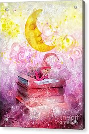 Little Reader Acrylic Print by Mo T